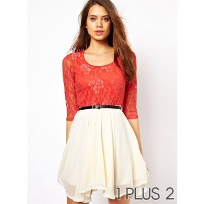 Lace Dress - 蕾丝雪纺拼接连衣裙