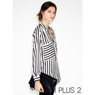 Striped Shirt - 大口袋装饰条纹衬衫