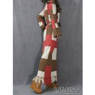 Long Dress - 多片拼色流苏系腰带拖地长裙