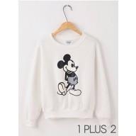 Mickey Sweater - 米奇图案印花插肩袖长袖抓绒卫衣