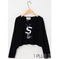 Bat Sleeve T-shirt - YSL字母印花蝙蝠袖宽松短款长袖T恤