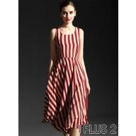 Chiffon Dress - 条纹长裙雪纺连衣裙