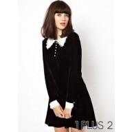 Dress - 小香风天鹅绒长袖黑色连衣裙