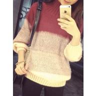 Gradient sweater - 高领手工拉毛撞色渐变宽松套头毛衣
