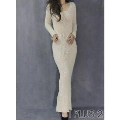 Long-sleeved Dress - 包臀性感鱼尾毛线长袖连衣裙