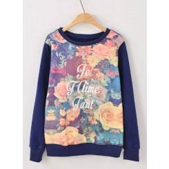 Long-sleeved Sweater - 大花朵英文字母印花