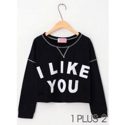 Sweater - I like you印花棉柔短款休闲长袖卫衣