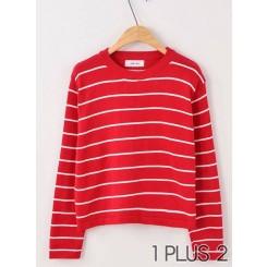 Loose Striped Shirt -复古学院风小清新宽松条纹短款针织套头上衣女