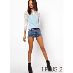 Long-sleeved Shirt - 牛仔拼接蕾丝钩花性感长袖衬衫
