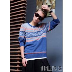 Long Sleeve T-Shirt - 英伦风个性高品质提花套头毛衣