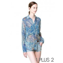 Floral Shirt - 欧美秋装翻领长袖印碎花衬衣