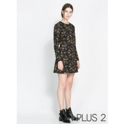 Dress - 黄色小碎花圆领连衣裙