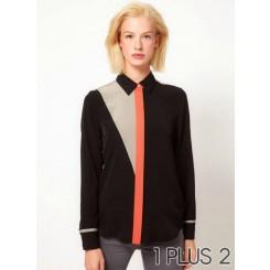 Collar Shirt - 复古几何衬衣拼接翻领衬衫