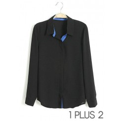 Chiffon Shirt - 欧美风休闲领子拼色撞色雪纺衬衫