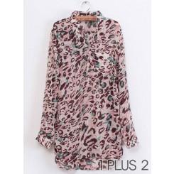 Chiffon Shirt - 欧美风中长款褶皱豹纹雪纺衬衫