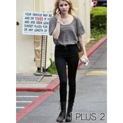 Skinny Jeans - 复古高腰包臀深色弹力紧身牛仔裤