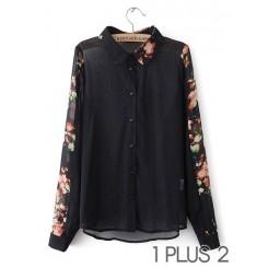 Chiffon Shirt - 花朵定位印花翻领长袖雪纺衬衫