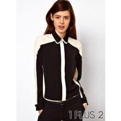 Long-sleeved Chiffon Blouse - 黑白拼色双层翻领长袖拼接雪纺衬衫