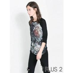 Long-sleeved T-shirt -立体大花朵印花圆领长袖T恤