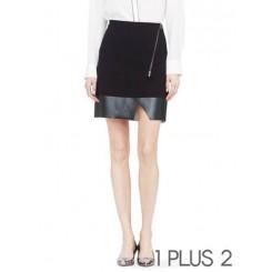 Leather Skirt - 拉链不规则PU拼皮黑色半身裙