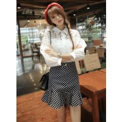 Lace Shirt - 白色蕾丝花朵拼接镂空泡泡袖宽松白衬衫