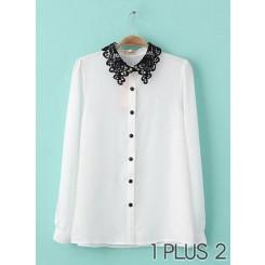 Shirt - 蕾丝钩花领子拼接白衬衫