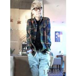 Long-sleeved Shirt - 全棉磨毛格子長袖襯衫