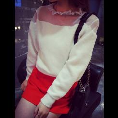 Sweaters - 水钻领网纱拼接加厚绒质感毛衣