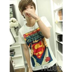 Superman T-shirt-超人弹力拉架棉修身短袖T恤