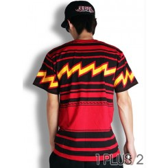 Striped red lightning T-shirt-条纹红闪电短袖T恤