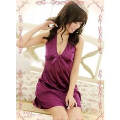 Transparent Lace Halter Dress + T String