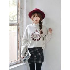 Lace Sweater - 甜美蕾丝拼接立领字母印花圆领卫衣