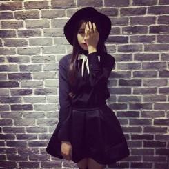 Shirt + Skirt - 蝴蝶结领结衬衣+百搭蓬蓬裙