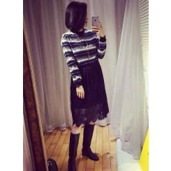 Lace dress - 甜美撞色条纹毛呢卫衣拼接蕾丝长裙连衣裙