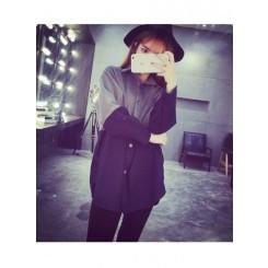 Long cardigan - 百搭宽松茸毛亮色拼接衬衣中长款开衫