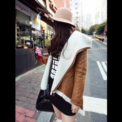 Casual Jacket - 麂皮绒休闲翻领羊羔毛棉衣外套