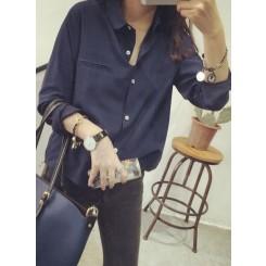 Loose long-sleeved shirt - 复古百搭纯色衬衫女长袖简约宽松学生打底衬衣