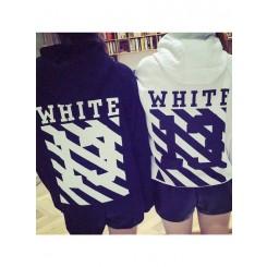 Striped Sweater - 前后黑白条纹数字13印花套头卫衣