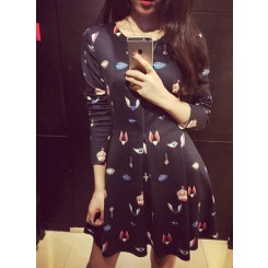 Retro Dress - 时尚复古大牌气质款空气层印花长袖连衣裙