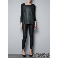 Long Sleeve T-shirt - 欧美风女装宽松拼皮针织衫