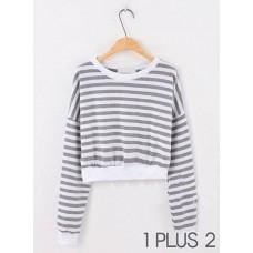 Short-sleeved Sweater - 灰白条纹短款长袖百搭卫衣