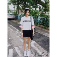 Round Neck T-shirt - ESPRESSO字母印花圆领中袖T恤