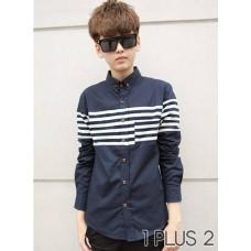 Long-sleeved Shirt - 全棉条纹拼布撞色长袖衬衫衬衣