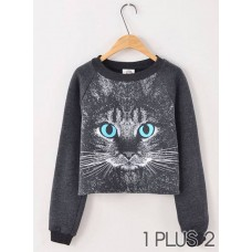 Sweater - 可爱猫咪头卫衣