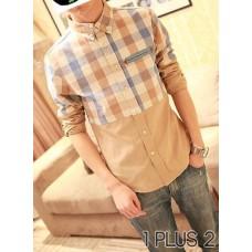 Plaid Shirt - 全棉格子衬衫拼接