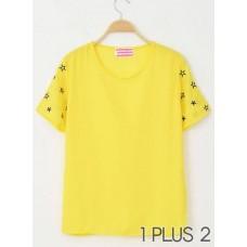 Short Sleeve T-shirt - 小星星袖子圆领短袖T恤雪纺衫