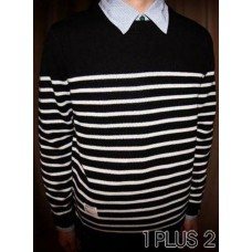 Striped T-Shirt - 条纹间色圆领套头毛衣针织衫
