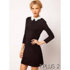 Lace Collar Dress - 雕花蕾丝领撞色修身显瘦连衣裙