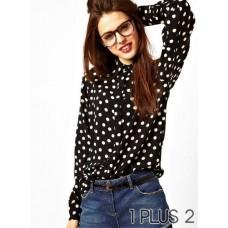 Chiffon Shirt - 圆点印花长袖雪纺衬衫