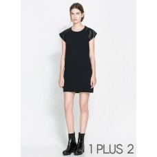 Dress - 仿皮袖拼接短袖黑色连衣裙